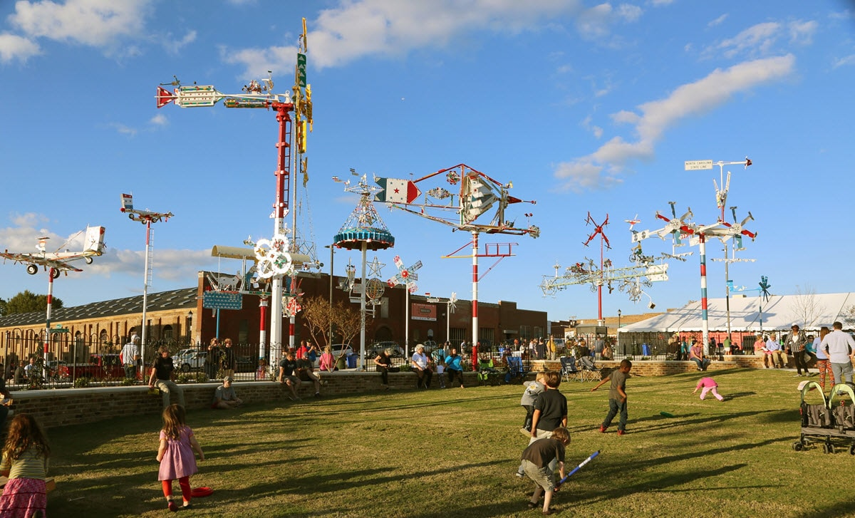 whirligigs spinning in the wind
