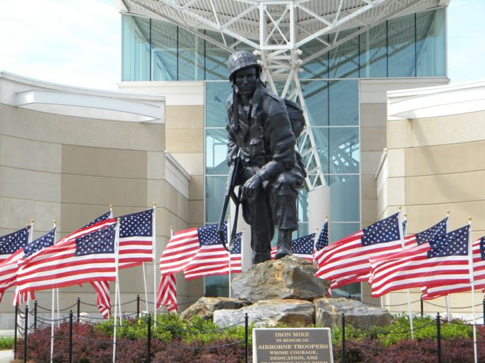 The Iron Mike statue of a U.S. paratrooper in Fayetteville, NC