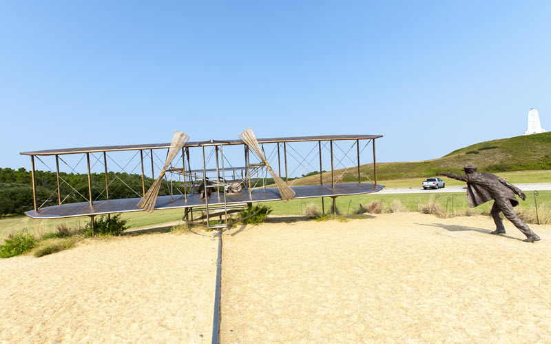 Bronze outdoor replica of the Wright Flyer at the Wright Brothers National Memorial in Kill Devil Hills