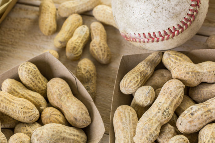 Peanuts in the shell and a baseball