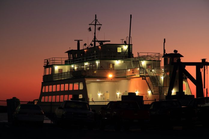 NC ferry at dawn before run to Ocracoke