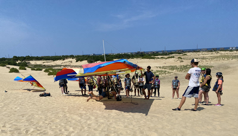 Hang gliding students at the Outer Banks