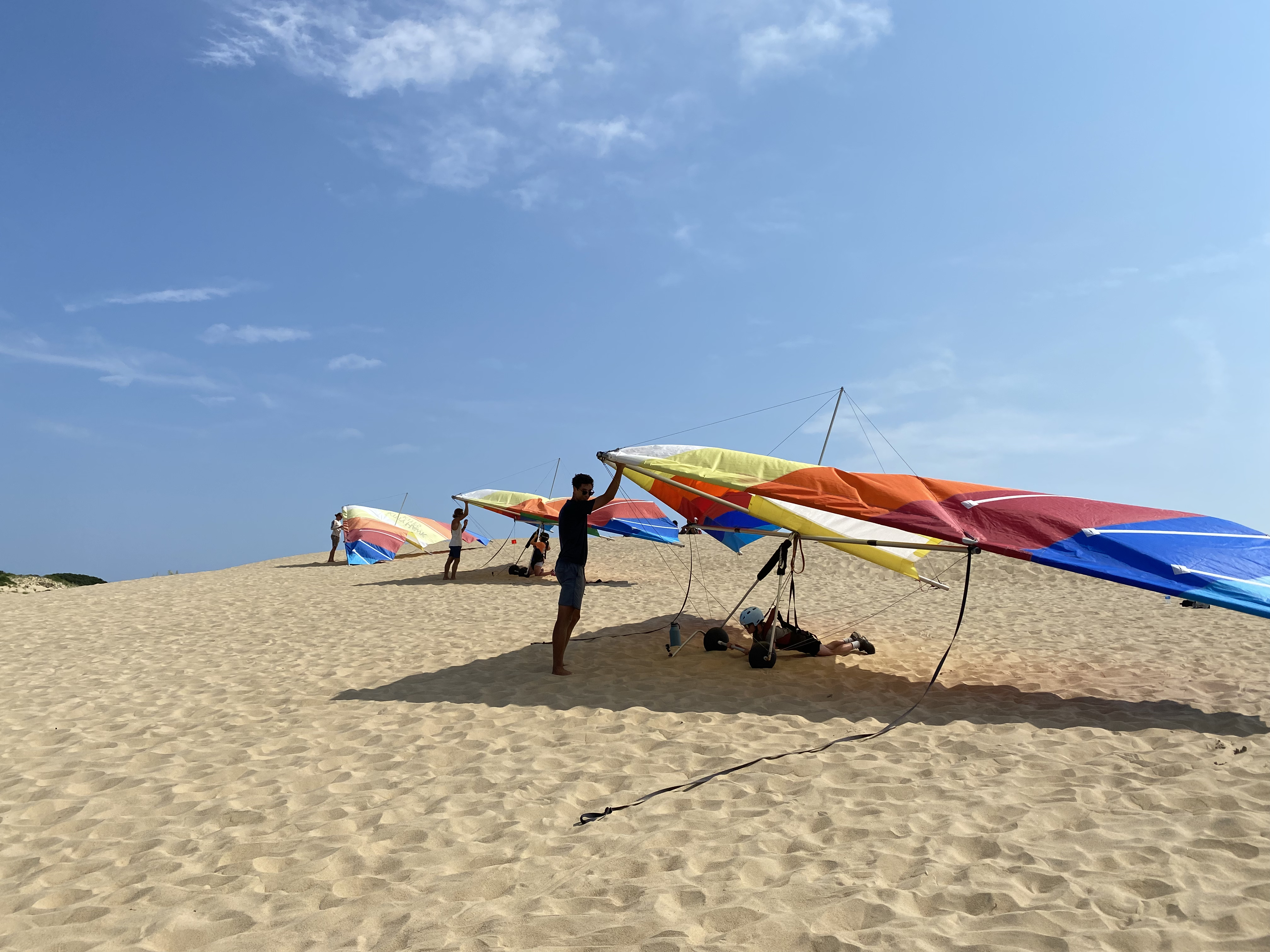 Hang gliding instructor and student